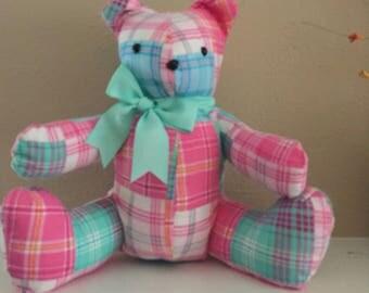 Pink Plaid Teddy Bear