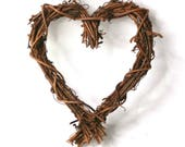 Image of 10cm Heart Grapevine Wreath, Rustic Country Style Wreath, Natural Twig Wreath, Natural Birch Twig Wreath, Natural Wreath Base, Wreath Base