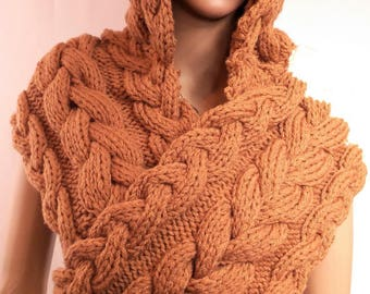 Scarfwith hood, woolen scarf, gashes knit, scarf ecru chestnut, scarf, gashes hood, Made in France