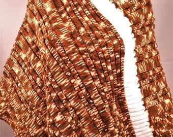 Wool poncho, poncho is hand knitted poncho wool poncho, Brown poncho, poncho