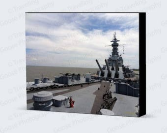 USS Alabama 1942 Fine Art Photography, Canvas Gallery Wrap, Military Historical Art, Machinery Wall Decor, Home Decor, Freedom