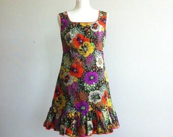 1960 flower print short a-line dress