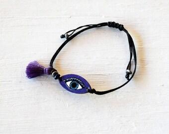 Ultra Violet Evil Eye Bracelet, Ultra Violet Bracelet, Purple violet Bracelet