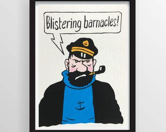 Original Comic Art - Captain Haddock from the Tintin comics - Gouache Painting - NOT A PRINT
