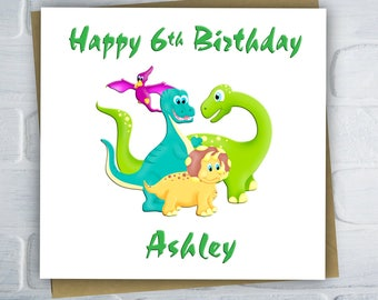 Personalised Dinosaur Birthday Card, Children's Birthday Card, Card For Boys, Son, Daughter, Sister, Brother, Free UK Shipping
