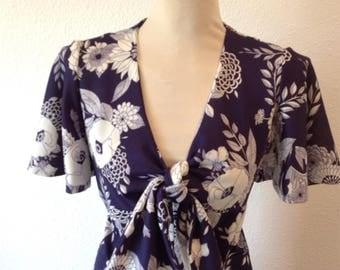 Handmade 70s Navy Maxi Dress