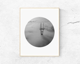 Black and White Print, Cloud Print, Architecture Print, Fog Print, Misty Print, Minimalist Print, Digital Download