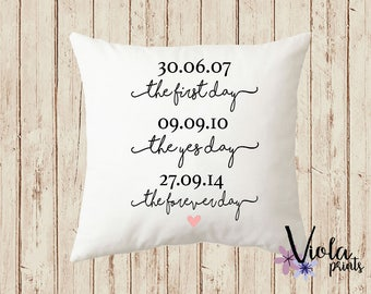 Personalised Wedding Gift Cushion Special Dates First Day Yes Day Forever Day Anniversary Gift