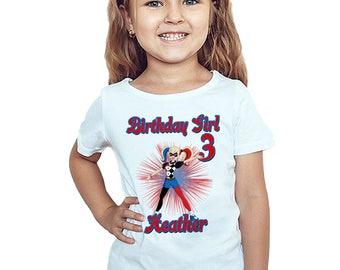 Harley Quinn Birthday T-Shirt Custom Name Age Super Hero Girls Birthday Personalized Shirt