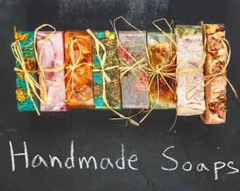 5 Flavor Sample Pack Homemade, Organic, Vegan Soap  | Coconut Oil, Aromatherapy Soap | Shea Butter, Vegan Soap | No Waste, Plant-based Soap