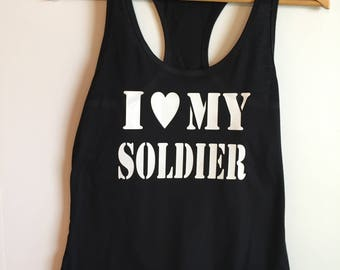 I love my Solider Tanktop, Army Wife, Army Girlfriend, Fiance, Army, Military Wife, Shirt, Tanktop