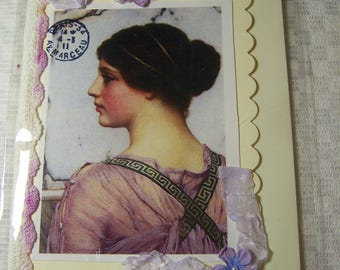 Handmade greeting card. Victorian style greeting card.