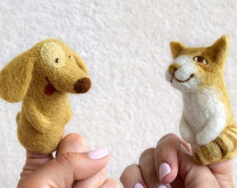Finger Puppets Cat Finger Puppet Dog finger puppet Felt Puppet Animal Finger puppet Finger Theatre puppet theater Toy Theater wool puppet
