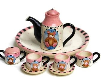 Dollhouse Miniature Matte Porcelain, Hand-Painted Tea Set, Miniature Fairy Garden Accessories, Little Bear Design Tea Set, Jewelry Supplies