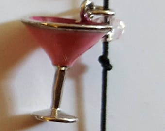 Martini glass cord charm bracelet