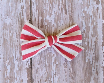 Pink/White Stripe Mila Bow