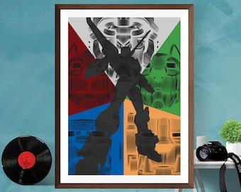 Voltron Legendary Defender Minimalist Alternative Artwork TV series Print Poster  Matt / Silk / Canvas A4/A3/A2