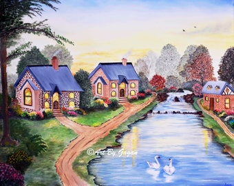 Riverside houses - Art print, Realistic Painting, Countryside Houses,
