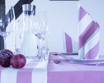 Table runners, pink and white striped 160 cm x 50 cm