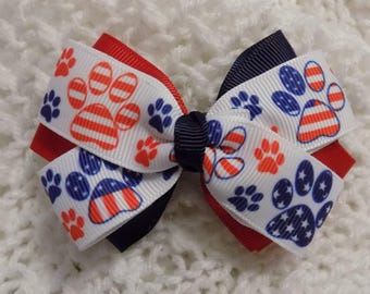 Patriotic Girl's Hair Bow - Toddler Hair Bow, Hair Bow, Bow, Fourth of July Bow, Hair Bow for Girl, U.S. Flag Hair Bow, Red White Blue Bow