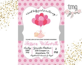 Girl Baby Shower invitation, Pink Baby Shower, Digital File