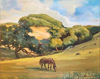Horse Grazing in Field Vintage Oil Painting / Original 1976 Signed Landscape Art