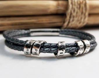 Men's Coordinates Bracelet, Personalized Men's Bracelet, Secret Message, Anniversary, Husband, Boyfriend, Leather Bracelet