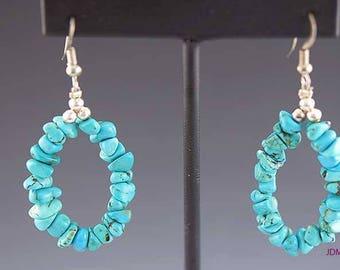 Charming Pair Blue Turquoise Beaded Dangle Drop Earrings