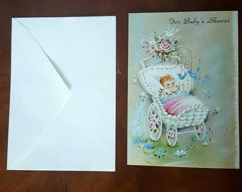 Vintage New Baby Greeting Card, Congratulations Greeting Card