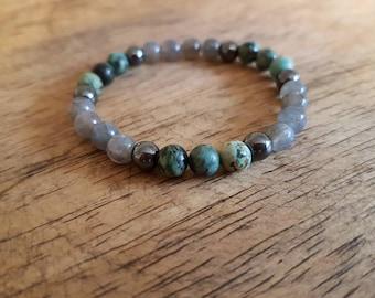 Stormy seas bracelet, gemstone jewelry, chakra jewelry, crystal jewelry, labradorite bracelet, turquoise bracelet, beaded bracelet