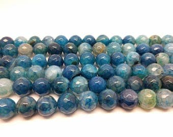 Faceted Blue Agate Beads 12 mm Blue Agate Faceted 12 mm Beads Big Beads for Jewelry Mala Beads Faceted Beads Blue Beads 12 mm Agate Beads