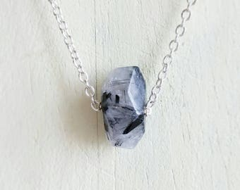 Crystal Quartz with Black Tourmaline Faceted Pendant Natural Gemstone Necklace Chain Choker Lariat Sterling Silver or Gold Filled