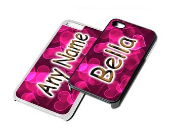 Custom phone cover, Hearts with animal print text design with personalised name detail