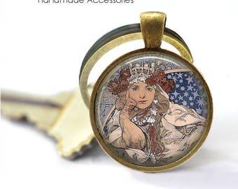 """ALPHONSE MUCHA Key Ring • Mucha Art • Mucha """"Zodiac"""" • Art Deco Art • Mucha Jewellery • Gift Under 20 • Made in Australia (K506)"""