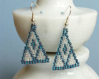Triangular blue and silver dangle earrings