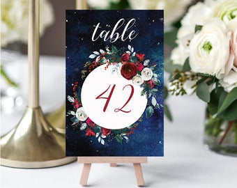 Wedding Table Numbers,Christmas Winter Numbers,Red White Burgundy Table Numbers,Table Numbers Wedding,41-50,4x6,PDF Instant Download TN-050