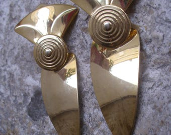 A Stunning Pair of Vintage French Abstract 1980's Clip on  Earrings.