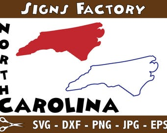 North Carolina Vector, State Clipart, NC Clip Art, North Carolina SVG, State PNG studio cut file Silhouette Studio Cameo, Cricut Dxf Eps Png