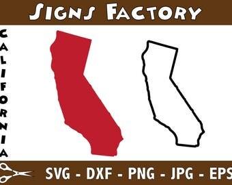 California Vector, State Clipart, CA Clip Art, California SVG, State PNG studio cut file Silhouette Studio Cameo, Cricut Dxf Eps Png