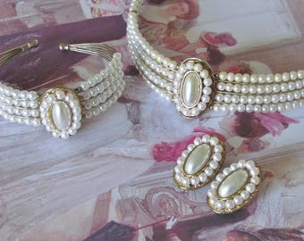 Parure - fausses perles - vintage