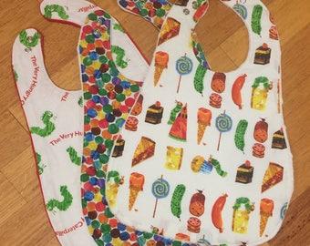 Baby Bib Set - Very Hungry Caterpillar - Gender Neutral Bibs - Toddler Gender Neutral - Minky Dot Fabric -Eric Carle