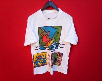 vintage keith haring colourful t shirt
