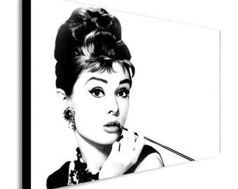 Audrey Hepburn Black And White Canvas Wall Art Print - Various Sizes