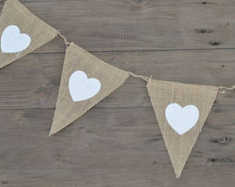 Wedding Engagement Shower White Heart Burlap Banner