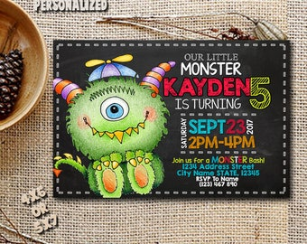 Monster Invitations / Monster Birthday / Monster Birthday Invitation / Monster Party / Monster Printable / Monster Personalized-SL131