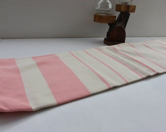 Pink and Ivory Stripes-Traditional Turkish Towel-Hand Loomed woven Bath Towel