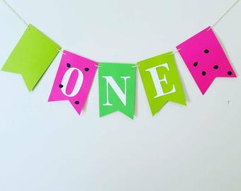 Pink and green girls first birthday banner, girls summer birthday party banner, watermelon birthday party banner,watermelon highchair banner