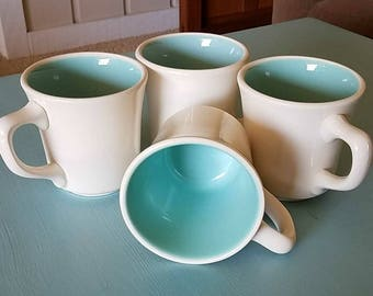 1960s Coffee Mugs - Vintage Taylor Mugs - Aqua & White - Set of 4