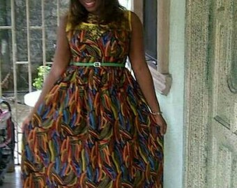 African print maxi dress with lace