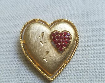 Vintage Double Heart pin, marked J.J.